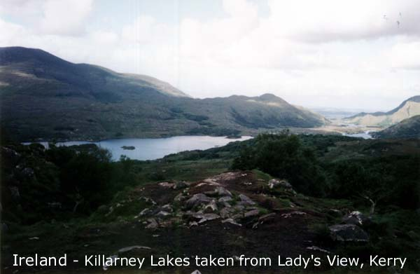 Ireland, Killarney Lakes from Lady's View in Kerry