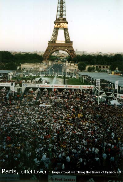 Paris, Tiffel Tower - Huge crowd watching the final of France 98'